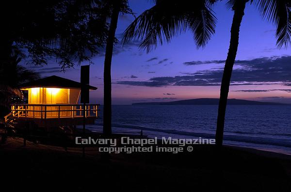 Sunset at  life guard house on Maui, Hawaii Beach