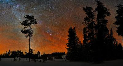 Sunset Glow at Night - Yellowstone River Upper Falls:  Yellowstone NP - Winter 2020
