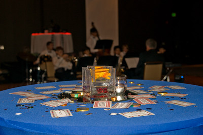 James Bond Trivia Cards and Casino Money decked the tables