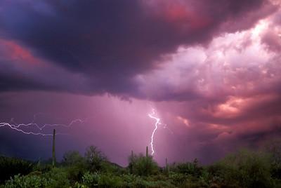 Summer Monsoon at Sunset, Sonoran Desert near Tucson, Arizona