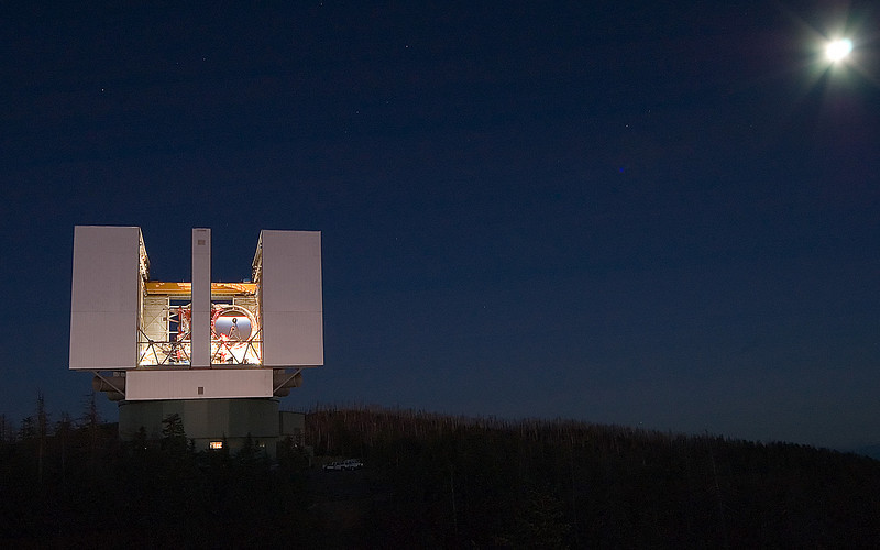 9-14-2005 -- Photo by David S. Steele -- The Large Binocular Telescope at the Mount Graham International Observatory, Mt. Graham, Arizona.
