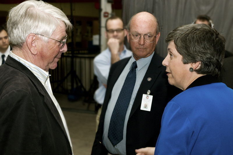 (2.13.2008 -- Tucson, AZ) Arizona Governor Janet Napolitano chats with the University of Arizona's Steward Observatory Director Peter Strittmatter (left) while Lunar and Planetary Laboratory Director Michael Drake looks on.