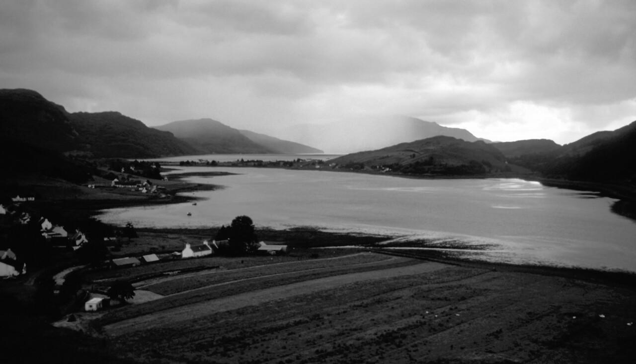 Rainshower over Skye, Dornie