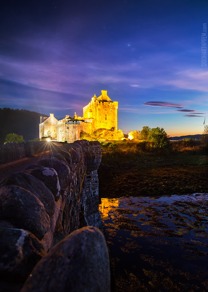 Twilight reflections at Eilean Donan Castle