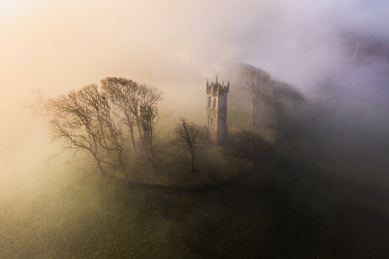 A misty morning at Barnweil monument, Ayrshire, Scotland