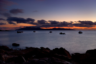 Isle of Rum at dusk from Elgol, Skye