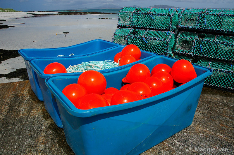 Lobster pots and buoys at Eoligarry, Barra