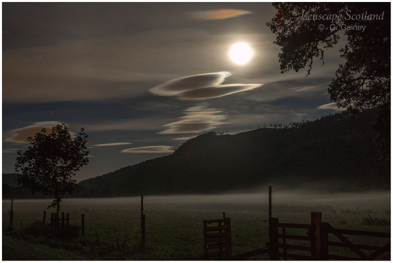 Struy, Strath Glass, with moon, stars and valley mist