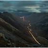 car headlight trails in Glen Coe, from Sgorr nam Fiannaidh