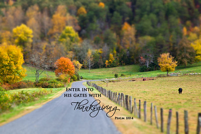 Enter into His gates with Thanksgiving  Psalm 100-4Road beside pasture in the fall