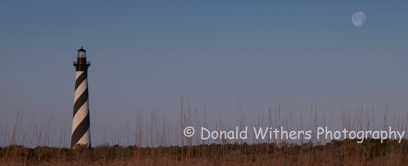 Cape Hatteras Lighthouse Sunrise - Moonset Panoramic