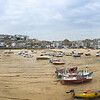 Panoramic view of St. Ive's harbor at low tide