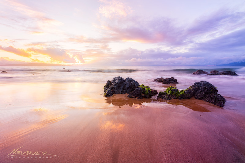 I actually photographed this scene while I was on a photo tour with a gentleman who came to visit with his daughter from San Francisco. I was taking them around the island of Maui stopping at some of my favorite places and finishing up at this perfect beach on Maui's South side for a gorgeous sunset.