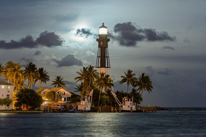 """Moonrise Over The Hillsboro Lighthouse"""