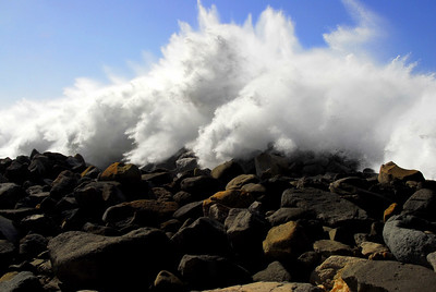 Shore Break  Leaps Over Breakwater
