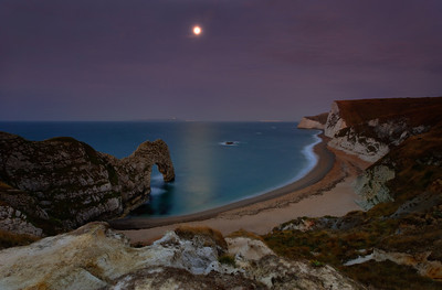 Durdle Door dawn moon, Dorset