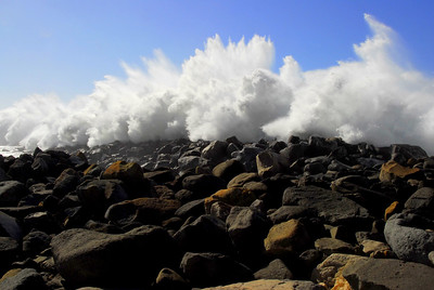 Large Swell Explodes Over Breakwater