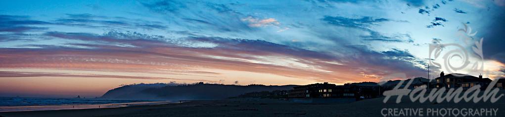 Panorama of Cannon Beach in the Oregon Coast  ... Shot at dawn  © Copyright Hannah Pastrana Prieto