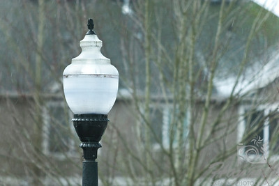 Start of Snow. A close-up of a single lamp post as snow flurries are beginning to fall at the background.  © Copyright Hannah Pastrana Prieto