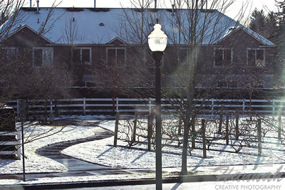Start of Snow. An image of a mini vineyard and walkway showing some thin snow.  © Copyright Hannah Pastrana Prieto