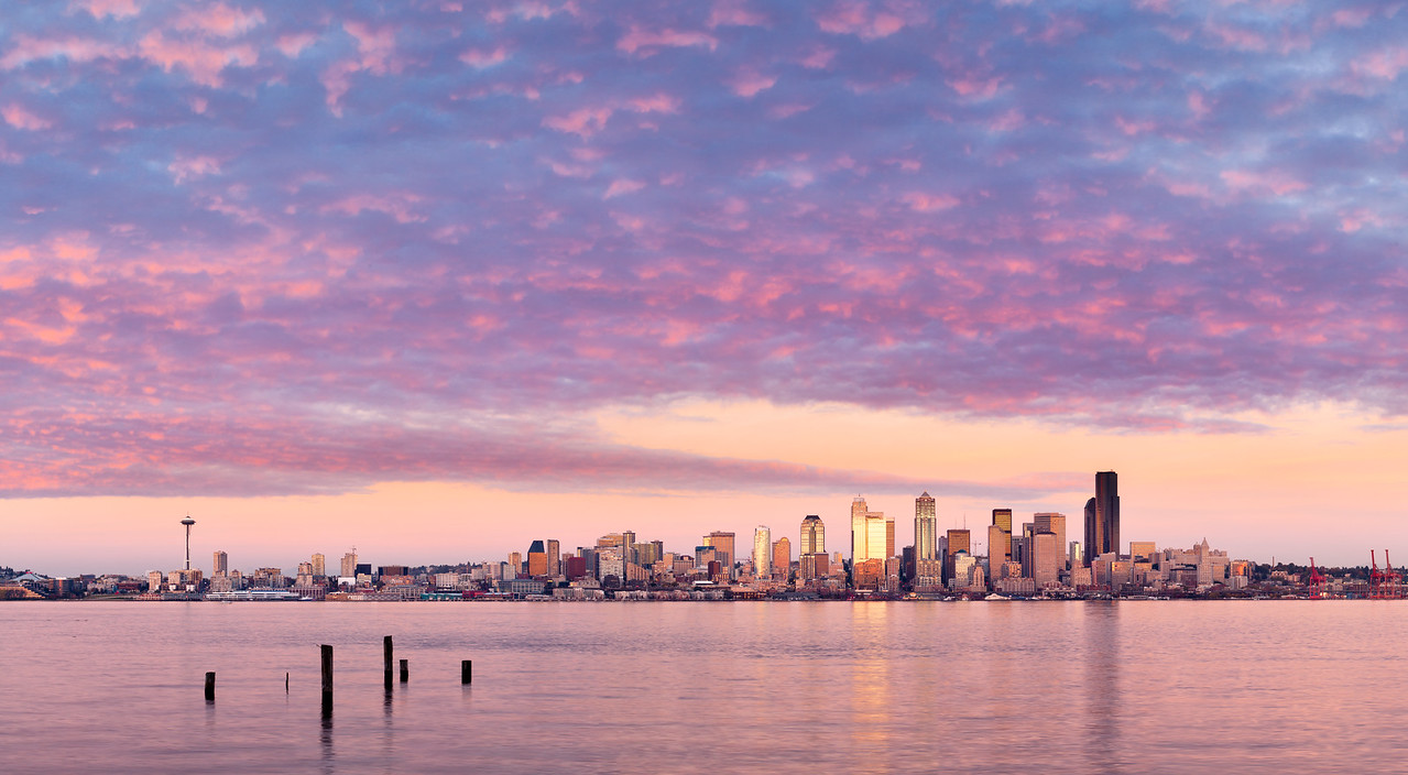Pink Sunset over Seattle