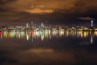 Night lights reflecting at Gasworks Park.