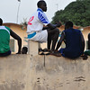 Watching soccer in downtown Saly, Senegal