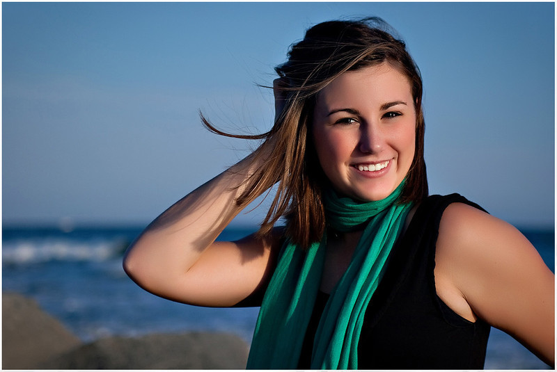 Professional lifestyle portrait of a senior at Fort Macon Beach State Park North Carolina.