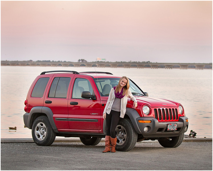 Professional lifestyle portrait of a senior with her car at Union Point Park.