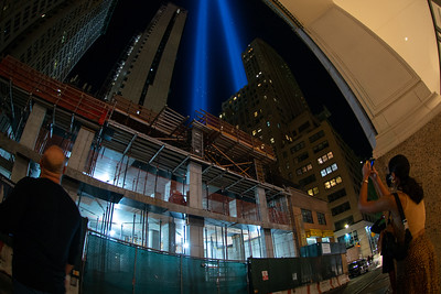 The Tribute in Light is illuminated over the skyline of lower Manhattan in New York City on September 11, 2020