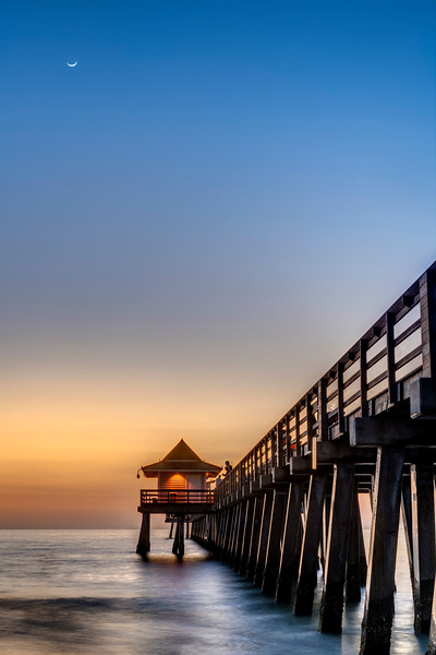 Crescent Moon Over Naples Pier