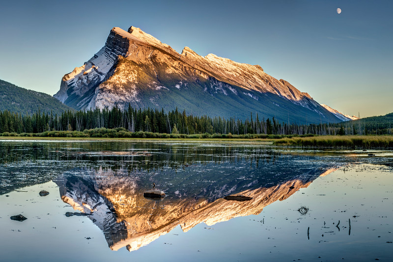 Sunset Reflection at Mt. Rundle