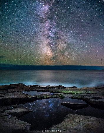 Milky way over the coast of Maine