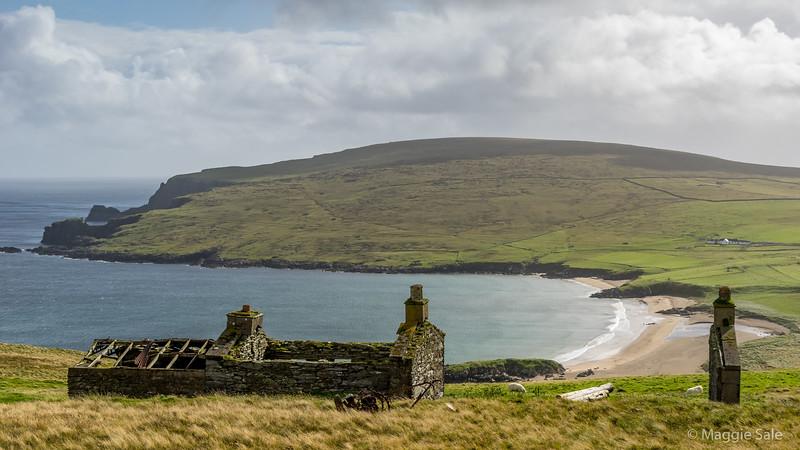 Abandoned crofts on eastern coast of Unst.
