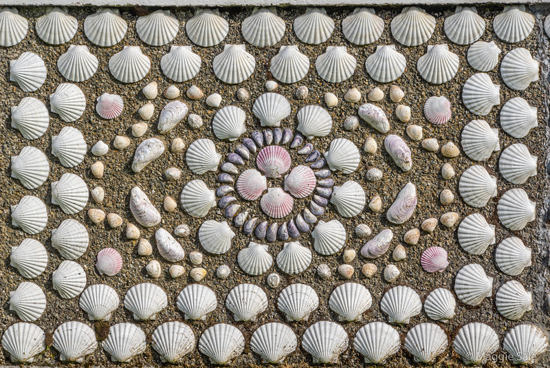 Detail of a panel on the Shell House in Hamnavoe, West Burra