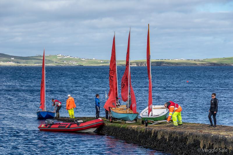 Sailing lesson, Leebitton Pier, South Mainland