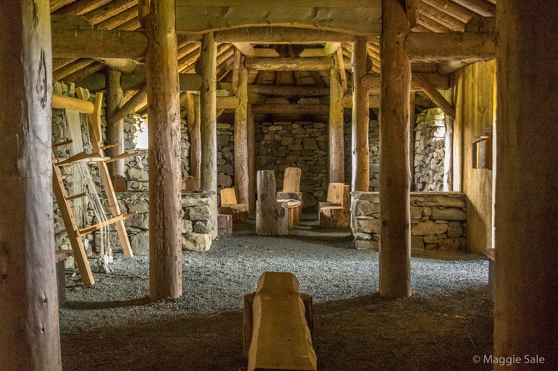 Interior of Viking Longhouse on Unst.