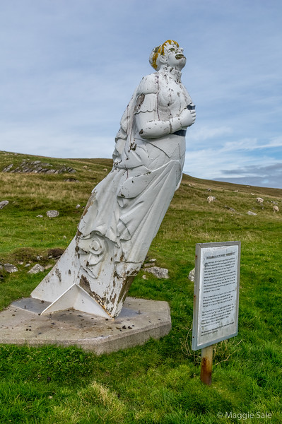 "The ""White Wife"" figurehead of a wrecked ship near Queyon, East Yell"