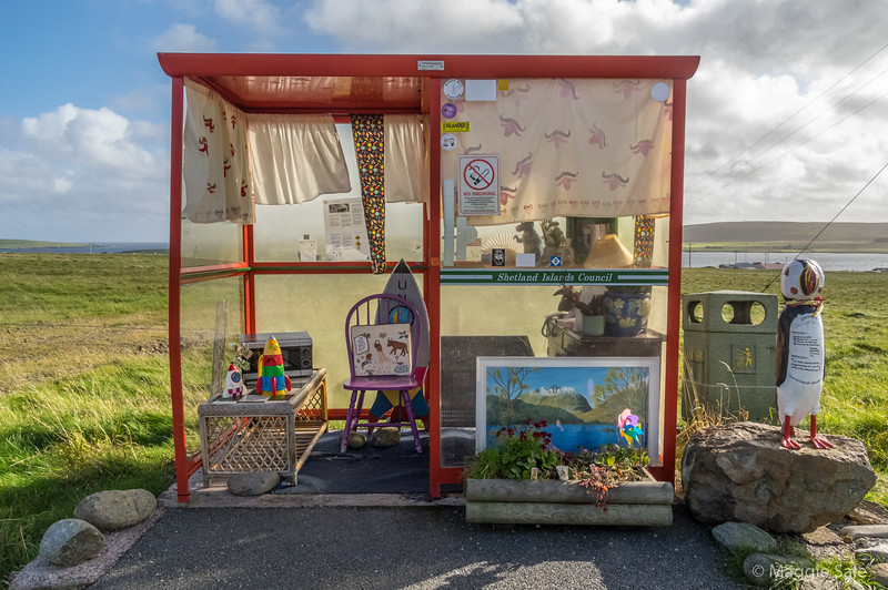 "Bobby's Bus Shelter, a famous local landmark, which is a working bus stop. Locals chose a theme  each year for decoration. This year it is ""Fake News""!"