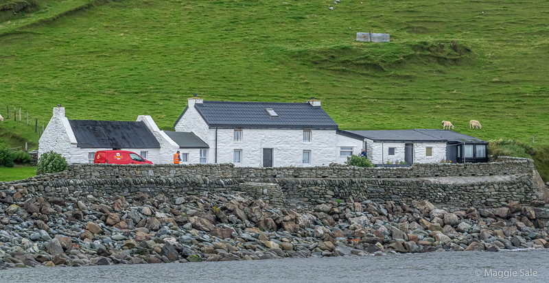 The end of the road and the mailman delivers at the white cottages, Norwick on Unst!