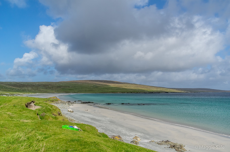 Sandwick Beach in east Unst. There are  many  archeological sites here dating back many thousands of years. We had all the beaches to ourselves!