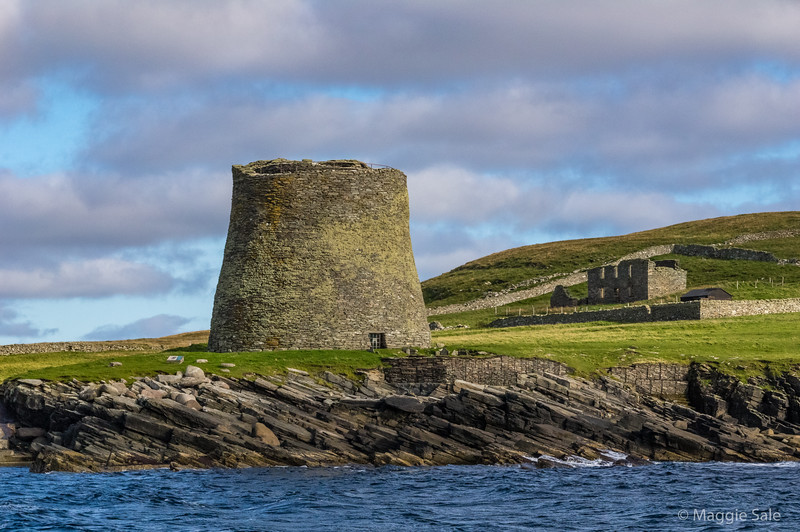 Mousa Broch from the sea. Laird's house in the background, when a family owned the island.