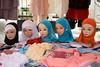 Headscarves for sale. Libos Market, SW France.