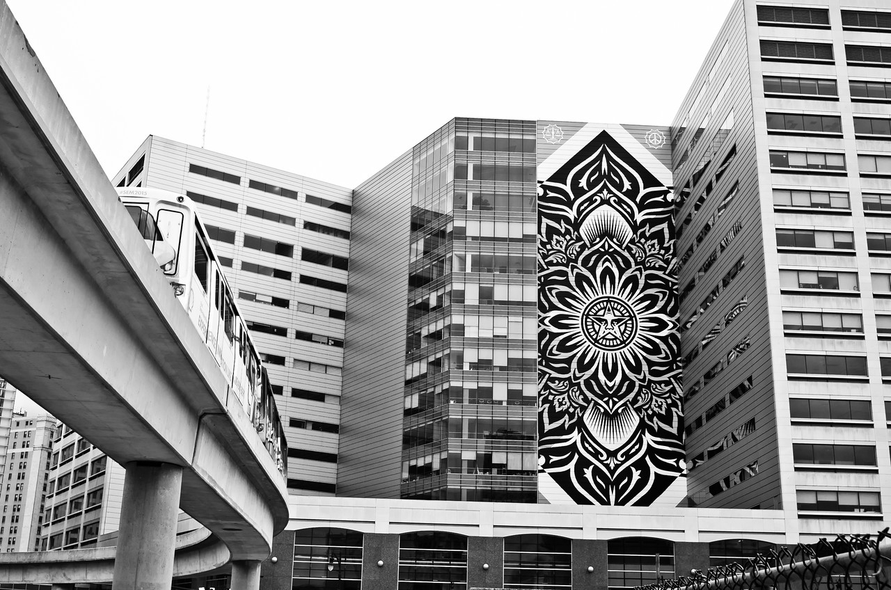 Shepard Fairey mural and People Mover<br /> Downtown Detroit, MI