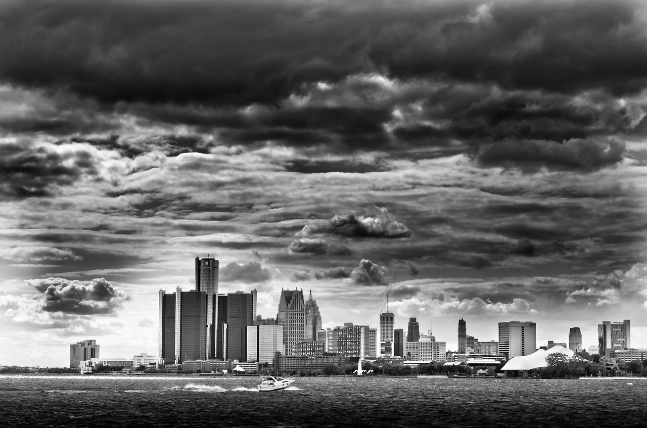 Detroit skyline as seen from Belle Isle's Sunset Point
