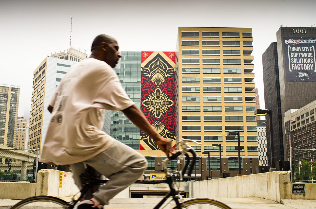 Shepard Fairey Mural<br /> Downtown Detroit, MI