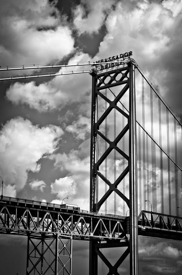 Ambassador Bridge connecting Detroit and Windsor, Ontario, Canada