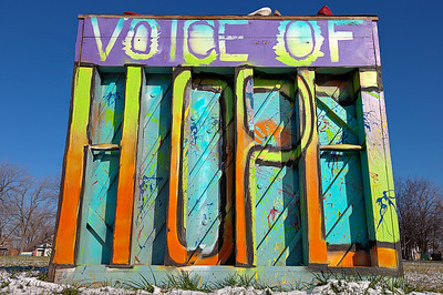 At the entrance to the Heidelberg Project in Detroit, the message of hope can be found written on the backside of this piano
