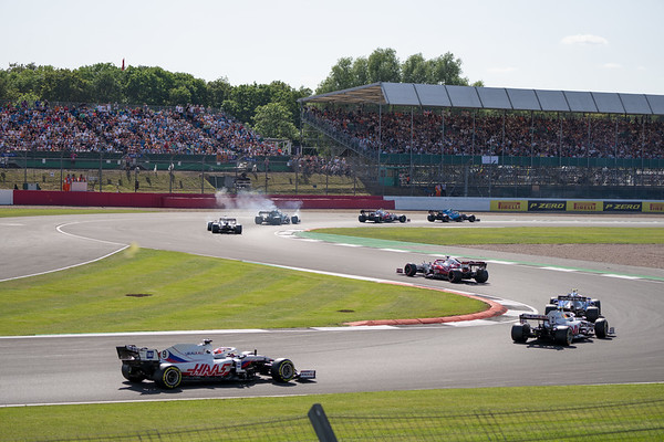Cars on Warm Up Lap on Club Corner - View from Hospitality Grandstand (Jul 2021)