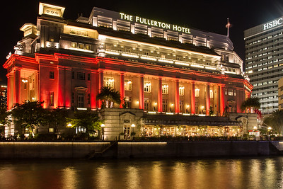 The Fullerton Hotel at night.